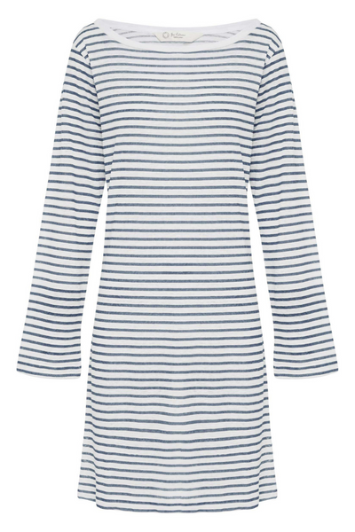 Jac Cadeaux-Boat Neck Linen Dress | Blue Stripe