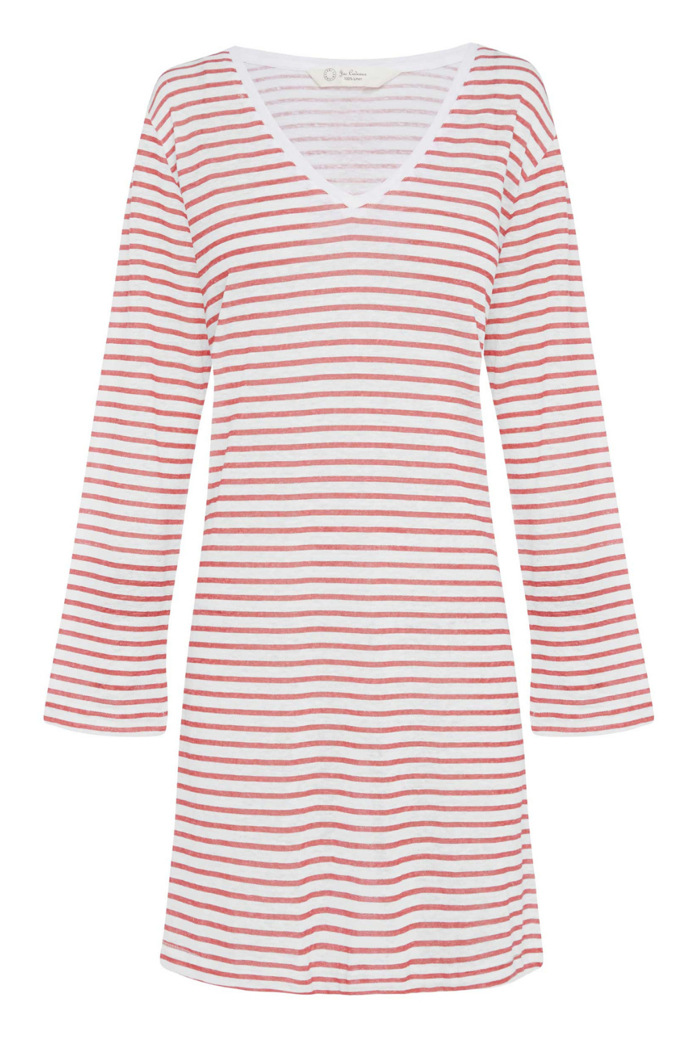 Jac Cadeaux-V Neck Linen Dress | Red Stripe