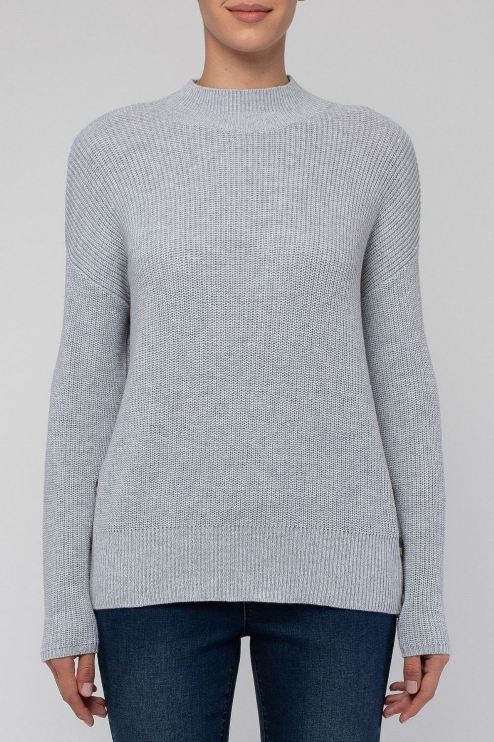 JUMP Shaker Stitch Side Button Pullover | Grey