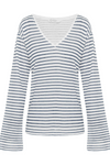 Jac Cadeaux-Long Sleeve V Neck Linen Top | Blue Stripe