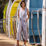 See Saw - Linen Belted Jumpsuit | Navy