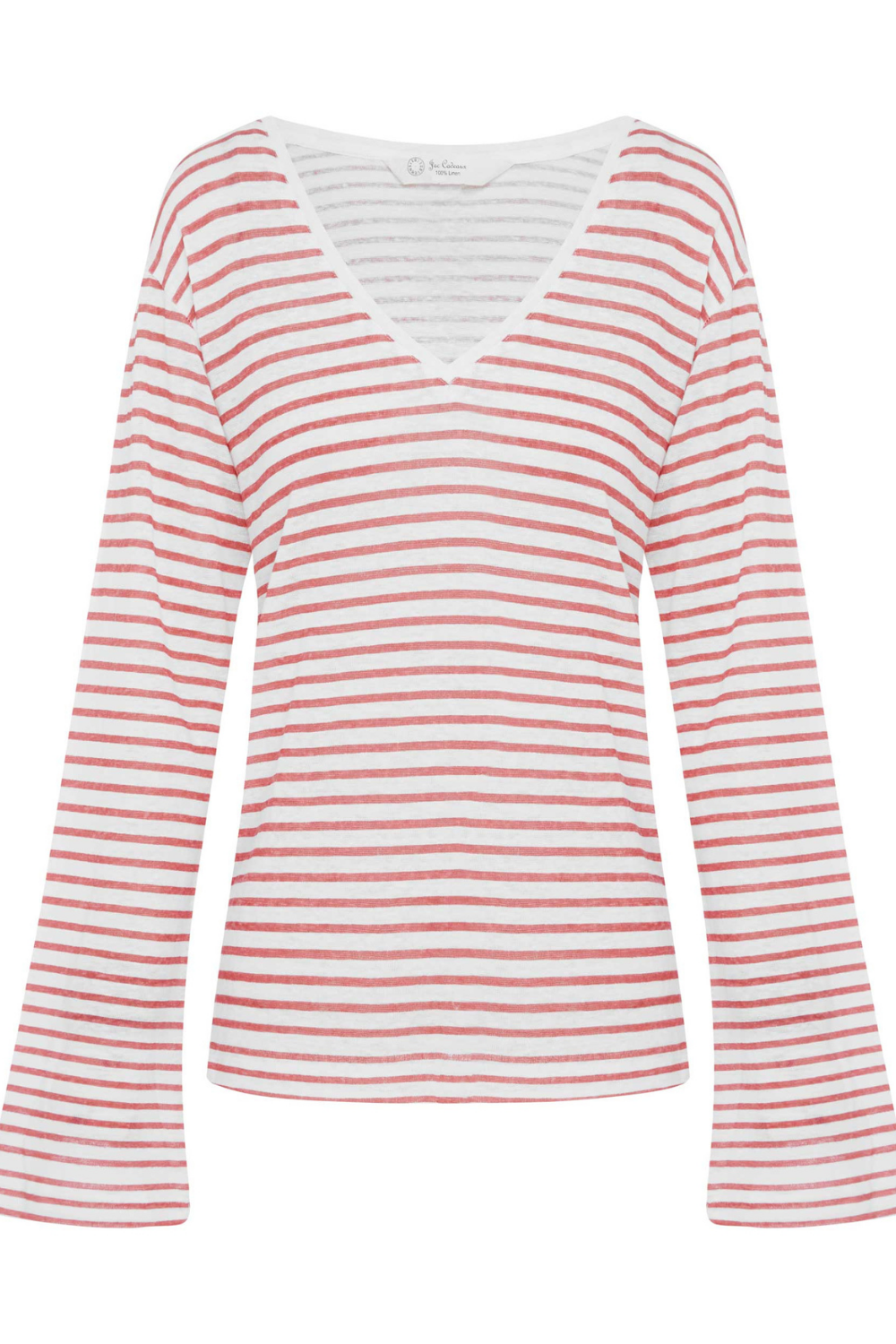 Jac Cadeaux-Long Sleeve V Neck Linen Top | Red Stripe