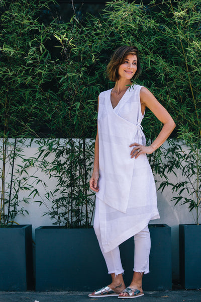 Linen Tie Side Wrap Tunic | White