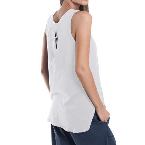 Miles From - Tie Back Tank  | White