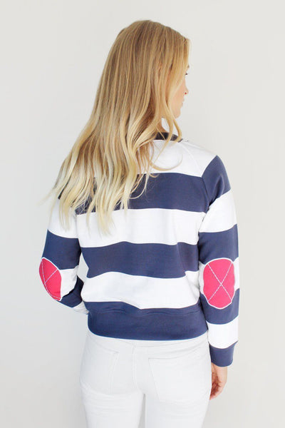 100% cotton. Bold navy and white stripes with signature patches. Cropped, classic fit that is true to size.