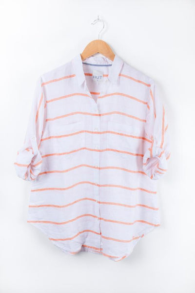 Hut-Boyfriend Shirt | Horizontal Orange Stripe
