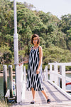 See Saw-Linen Maxi Wave Print Dress | Navy