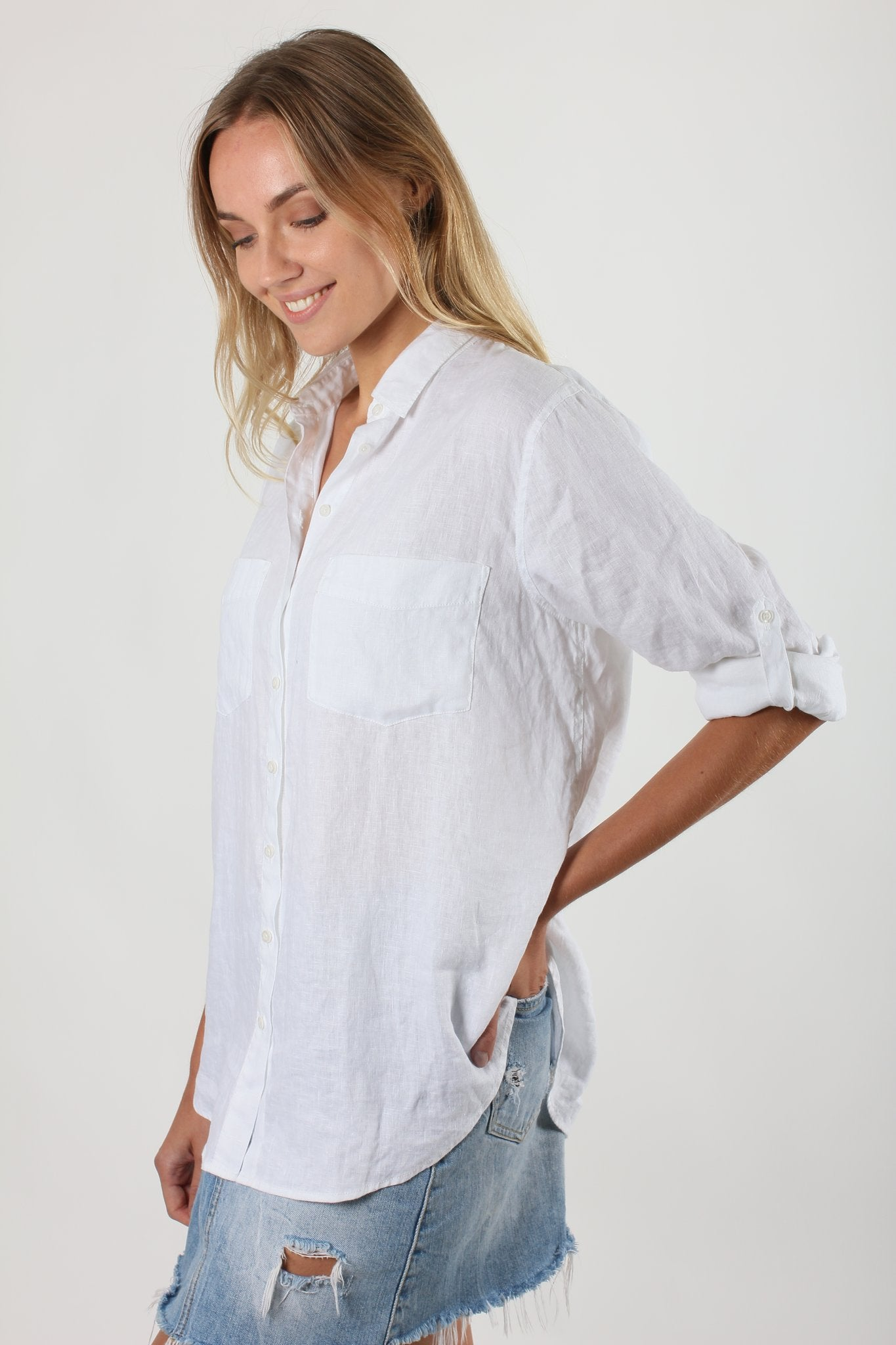 Boyfriend Linen Shirt | White