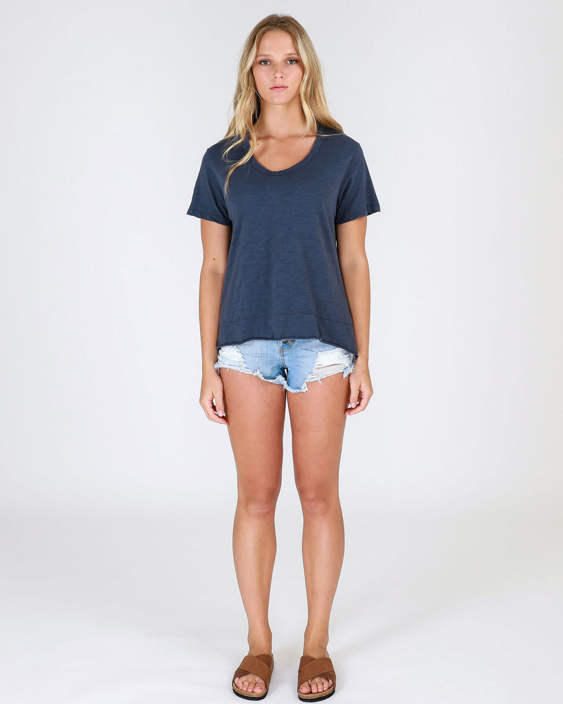 3rd story 100% cotton tee with round neckline and short sleeves A-line relaxed style with side splits Olive and Clover