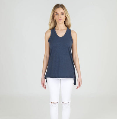 Round neckline with singlet back. Straight hemline at front with drop hemline at back.
