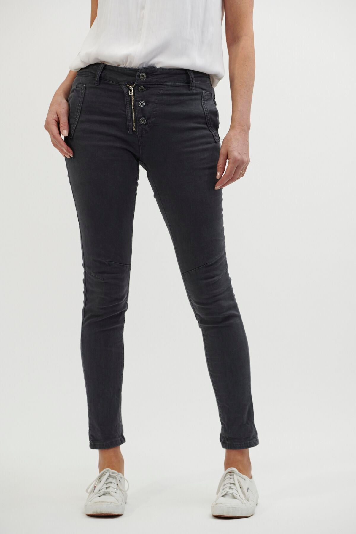 Italian Star Classic Button Jean with stretch , exposed zip and button fly. Olive and Clover