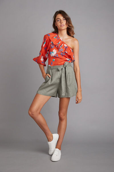 Santa Maria Linen Top | Vivid Bloom in Red
