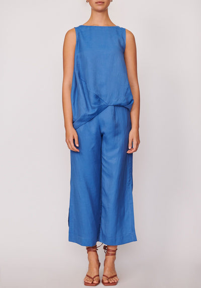 POL-Anke Split Pants| Blue