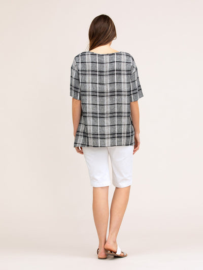 Checked Linen Overshirt | Navy Check