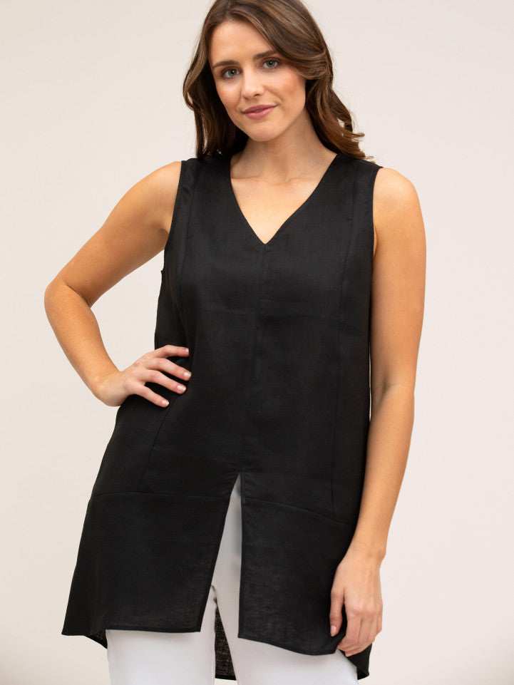 Yarra Trail-Essential Linen Tunic | Black