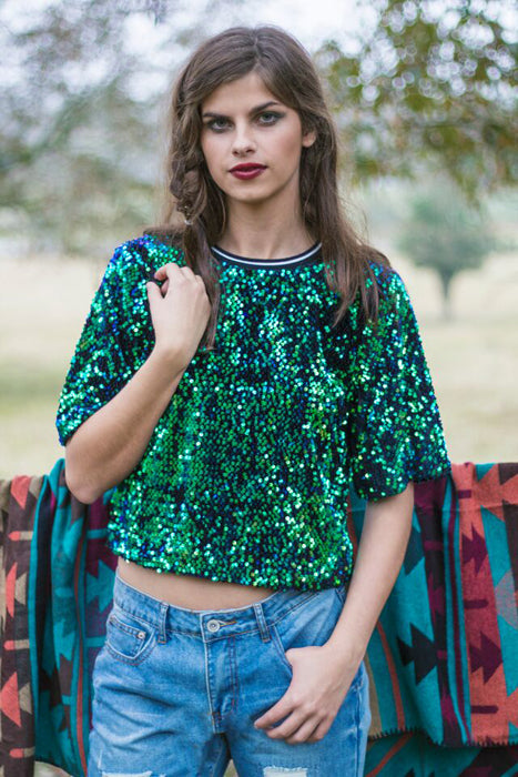 Holiday Fashion - Blue and Green Sequin Top