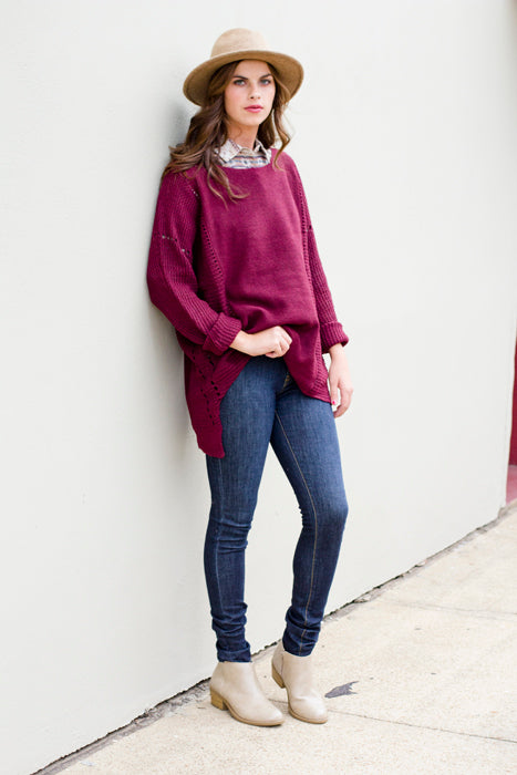 Maroon Oversized Sweater & Aztec Flannel