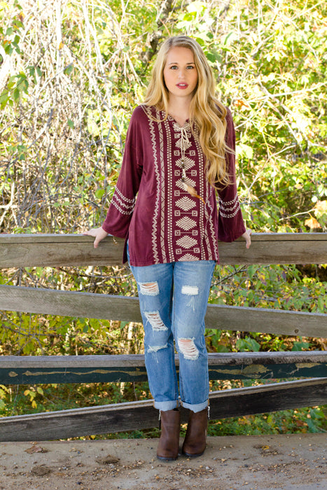 Fall Layers - Maroon Aztec Top w/ Feathers