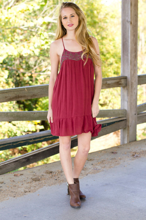 Fall Layers - Beaded Maroon Spaghetti Strap Dress