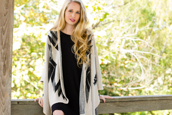 Fall Layers - Black Dress & Aztec Poncho