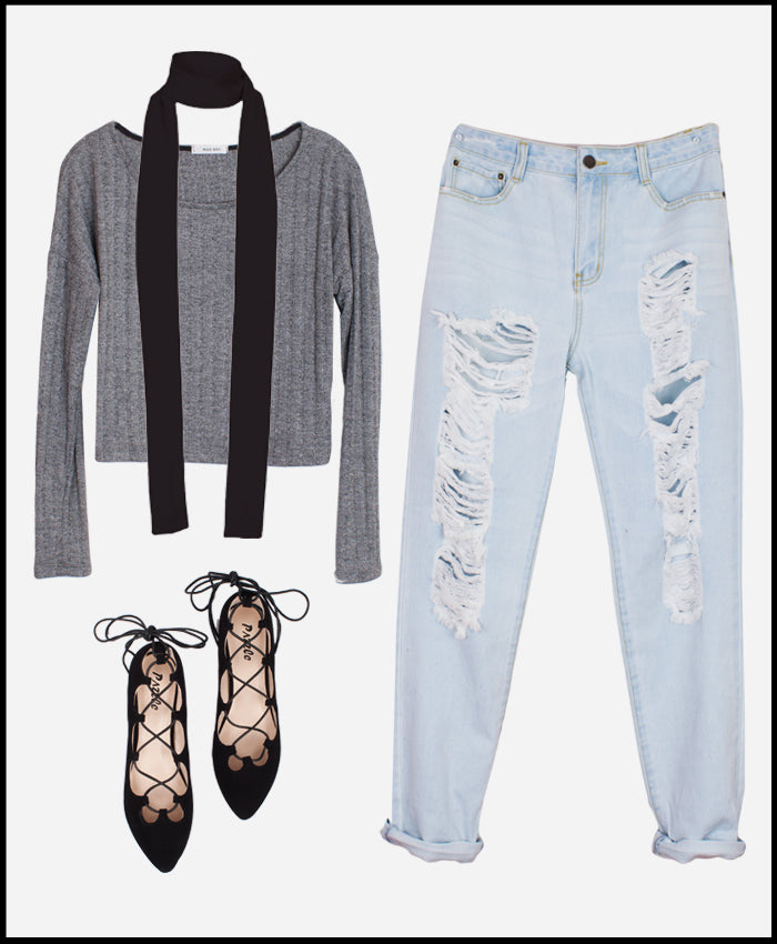 Style Revel Trend Report Skinny Scarf Distressed Denim Lace Up Flats