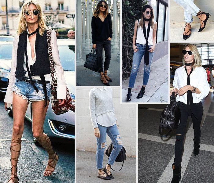 Style Revel Spring Trend Report Skinny Scarf Distressed Denim Lace Up Flats