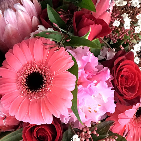 A perfectly pink arrangement designed with a colour combination of soft pinks, daring reds and an accent of soft foliage.