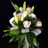 A bouquet of white orientals, green chrysanthemums,and white roses. Teresa Brough Designer Florist, Takaka NZ