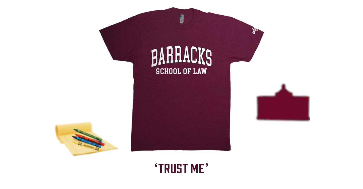 Inkfidel 'Barracks School of Law' tee blog banner