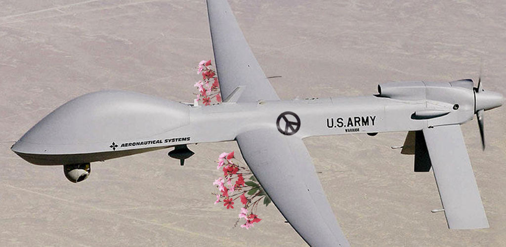 Army warrior alpha UAV flying armed with bouqets of flowers