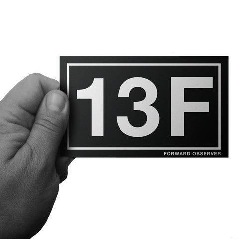 Black and White MOS Army 13F Forward Observer Decal - Inkfidel