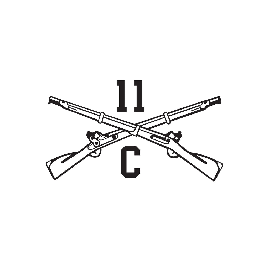 11C - Indirect Fire Mortarman - Crossed Rifles - Inkfidel