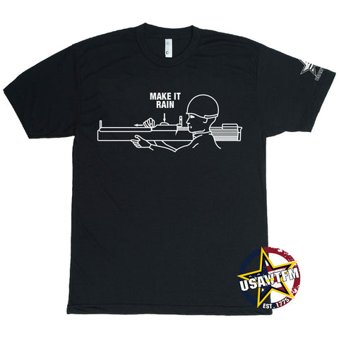 Black U.S. Army W.T.F! Moments 'Make it Rain' tee featuring design of soldier holding LAW rocket