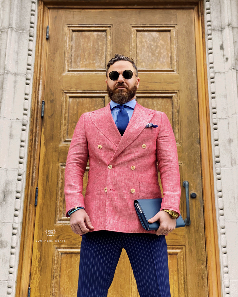Southern Gents Men's Salmon Doublebreasted Linen Blazer
