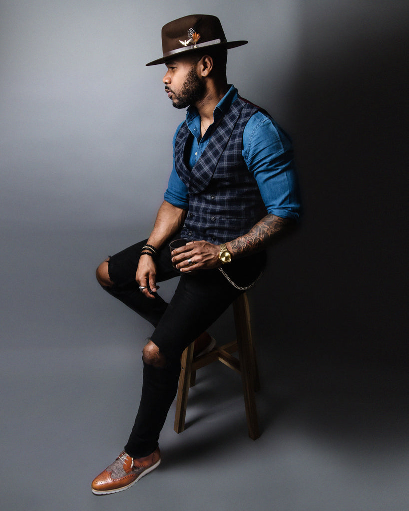 Southern Gents Geoffer Fedora Brown & DoubleBreasted Plaid Vest