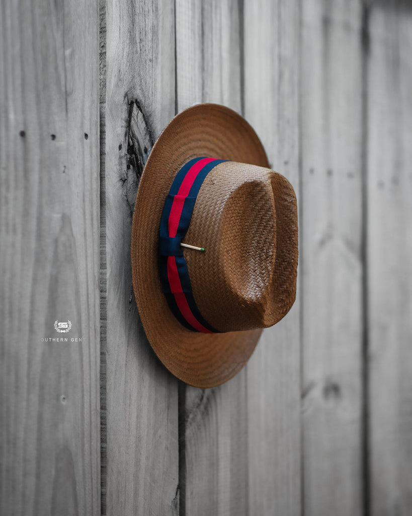 Southern Gents Miller Ranch Fedora - Red Navy Ribbon Straw