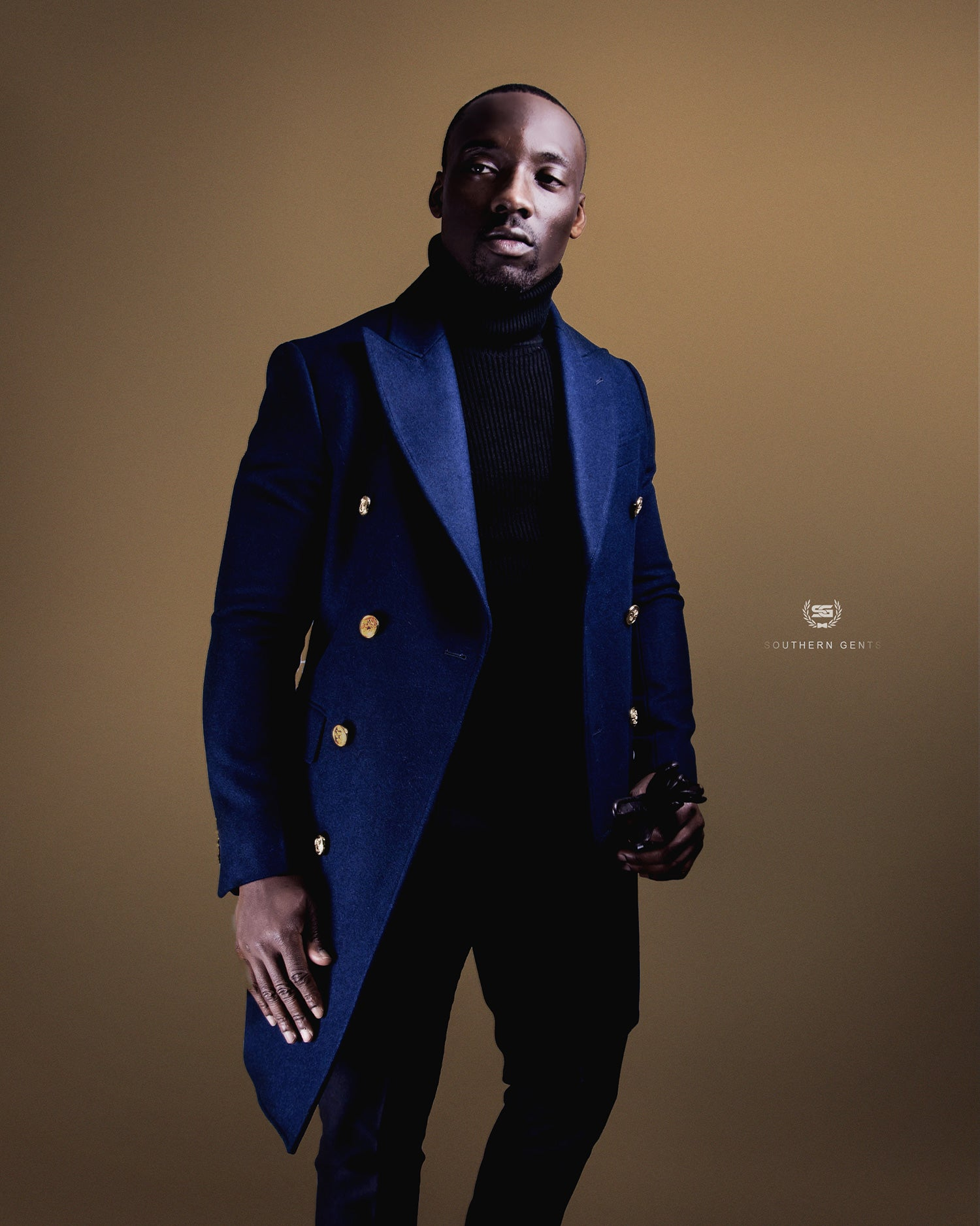 Southern Gents Double Breasted Coat - Navy + Gold