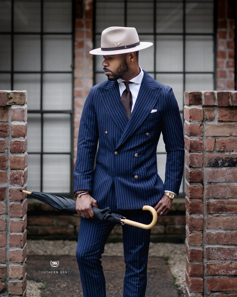 Double Breasted Navy Pinstripe Suit by Southern Gents