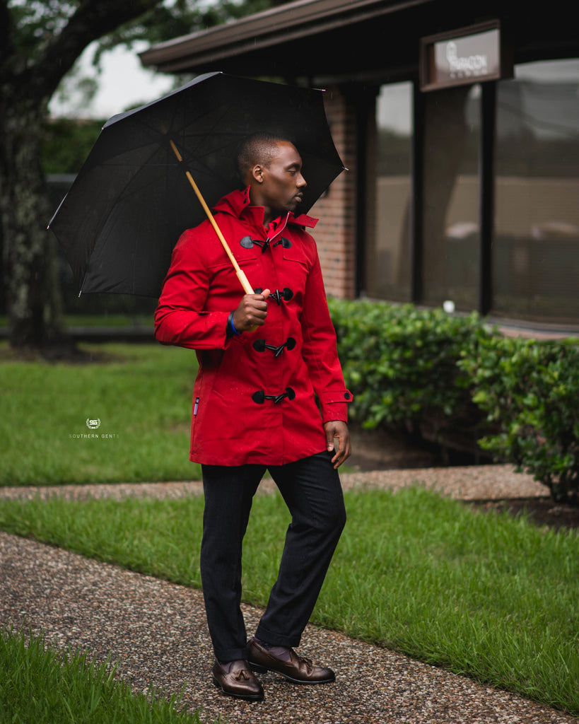 Southern Gents Toggle Raincoat - Red