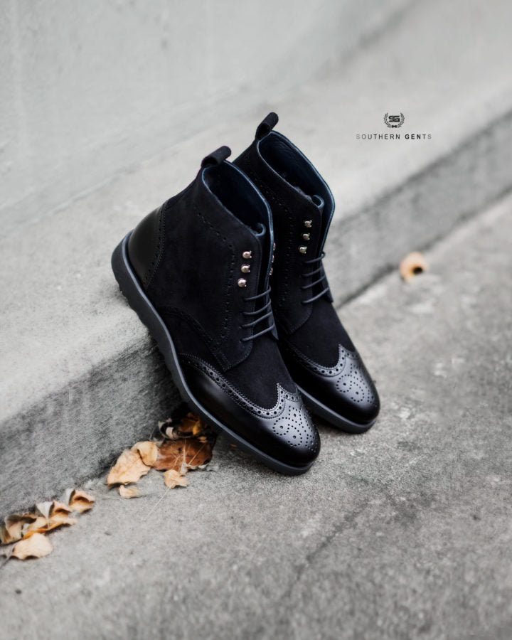 Southern Gents Triple Black Rogue Sport Wingtip Boots