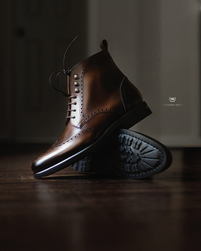 Southern Gents Rogue Wingtip Boots Dark Brown