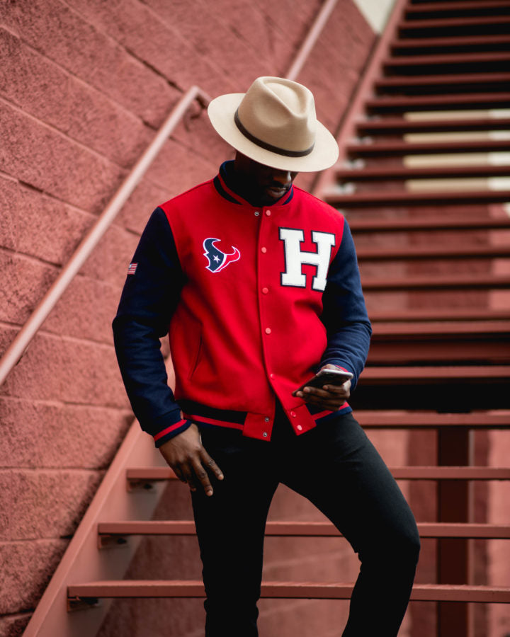 Southern Gents Red H-Town Varsity Jacket for Men