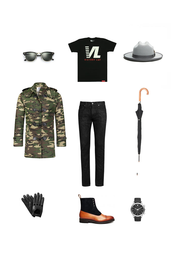 Southern Gents Camouflage Toggle Raincoat x Miller Ranch Fedora -  Men's Streetstyle Outfit Grid