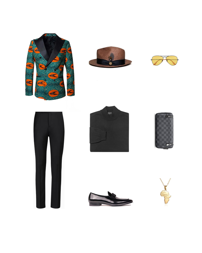 Southern Gents Ankara African Kwesi Tuxedo -  Men's Streetstyle Outfit Grid