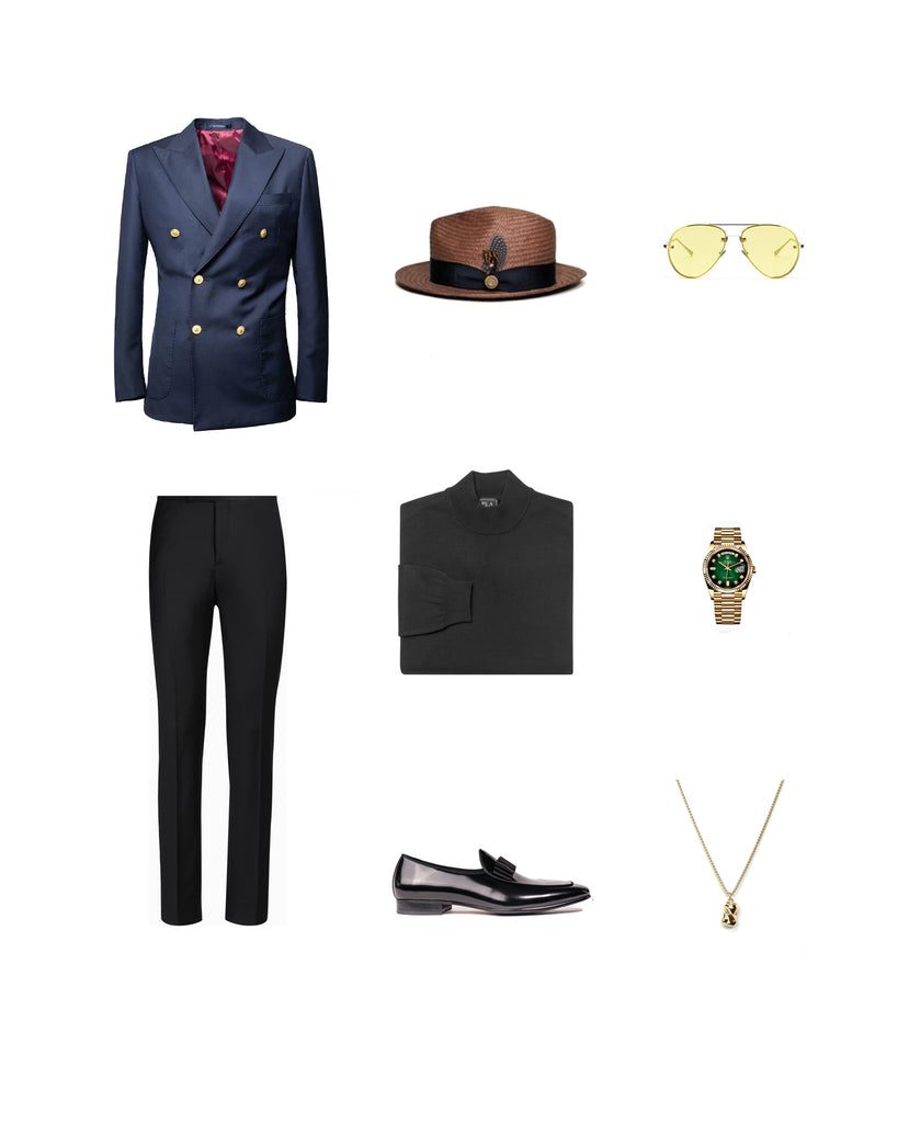 Southern Gents Navy + Gold Double Breasted -  Men's style Outfit Grid