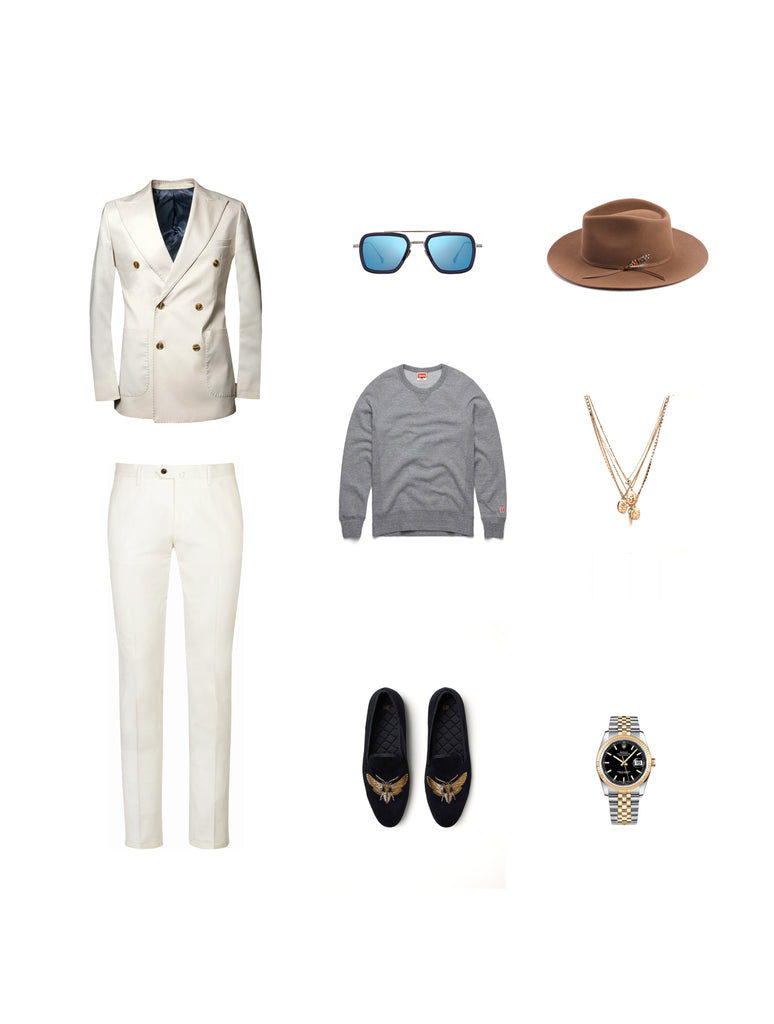 Southern Gents Ivory Doublebreasted Blazer -  Men's Streetstyle Outfit Grid