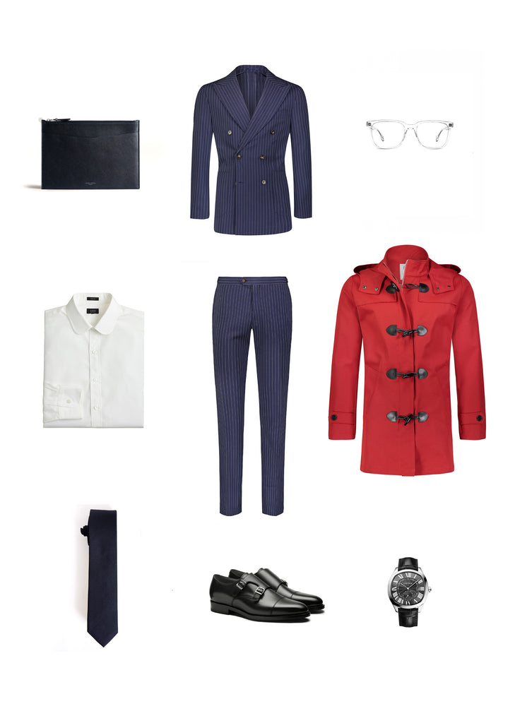 Southern Gents Red Duffle Raincoat -  Men's Streetstyle Outfit Grid