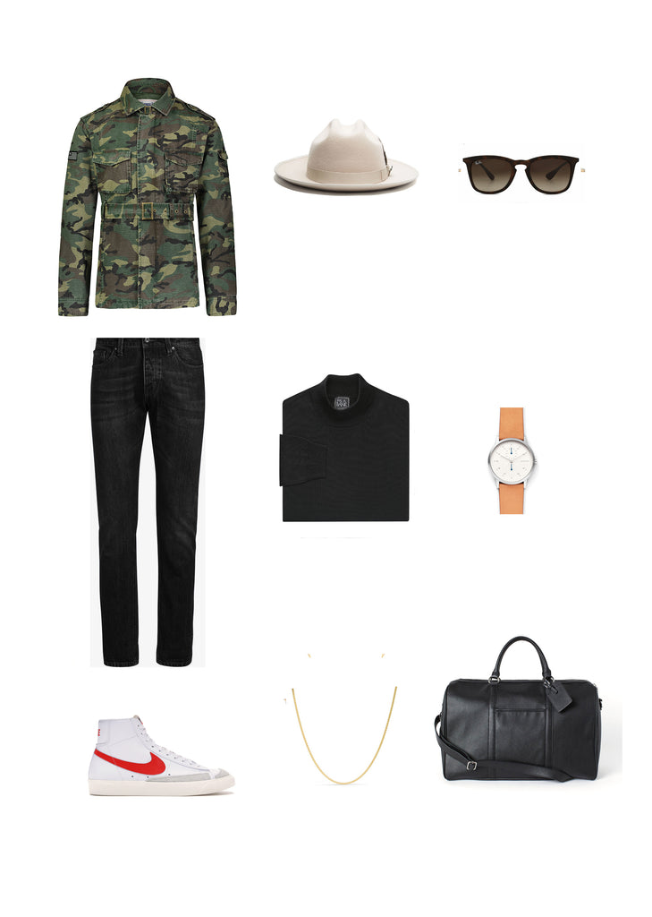 Southern Gents Camouflage Field Jacket x Miller Ranch Fedora -  Men's Streetstyle Outfit Grid