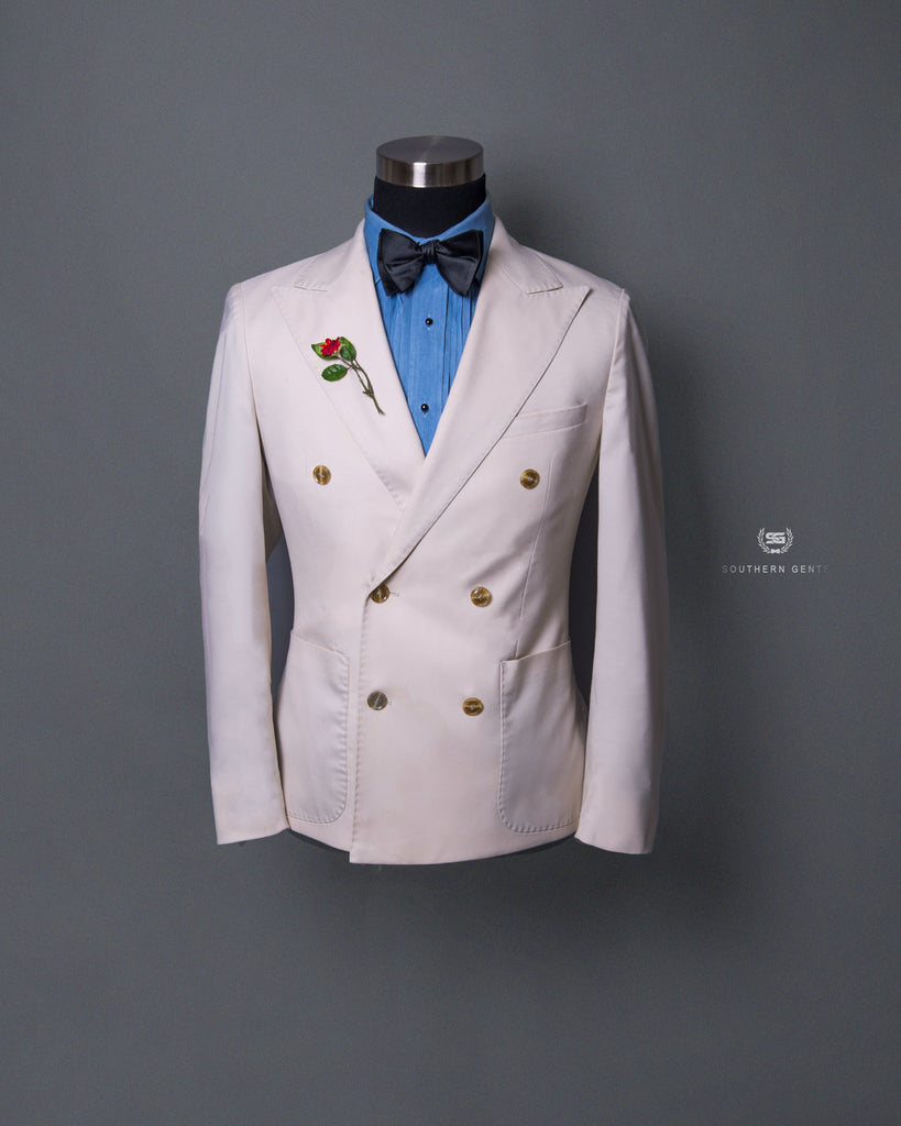 Double Breasted Ivory Off White Blazer by Southern Gents