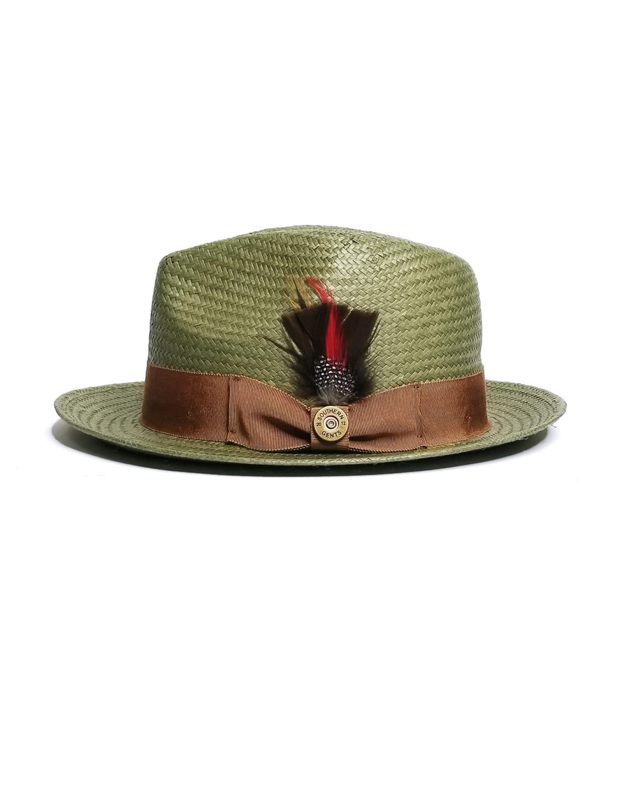 SG Straw Trilby Fedora -Avocado + Copper